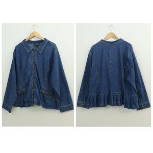 Just Blu Denim Jean Ruffle Blazer Jacket